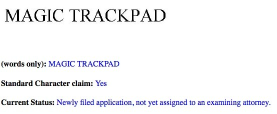 Apple Magic Trackpad trademark