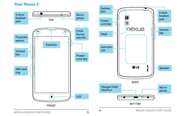 google nexus 4 manual leaked