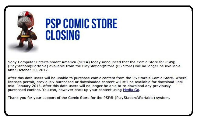 sony psp coming store shutting down closing