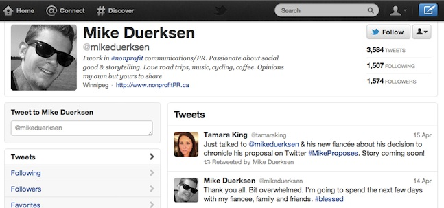 mike duersen proposal over twitter