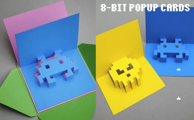 8-bit pop up cards