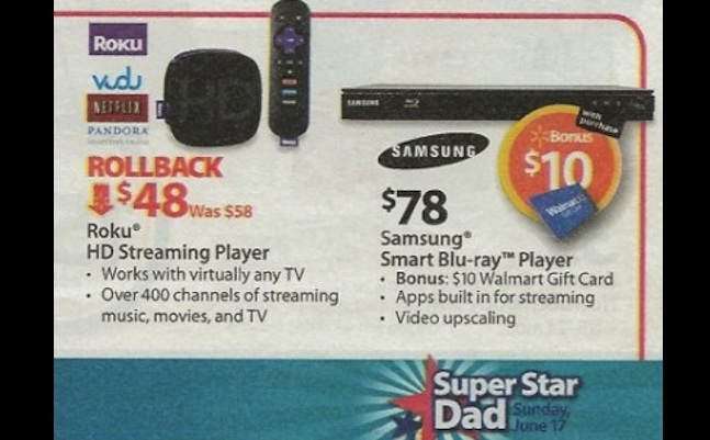 Walmart ad Vudu streaming Roku player