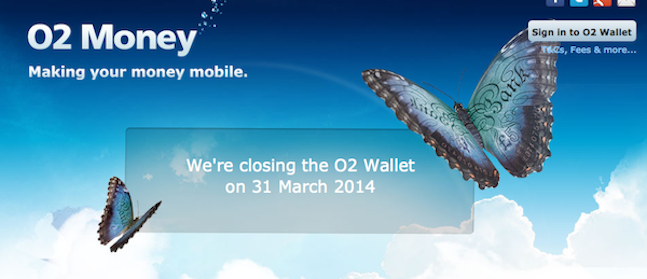 O2 Money Wallet Service Closing